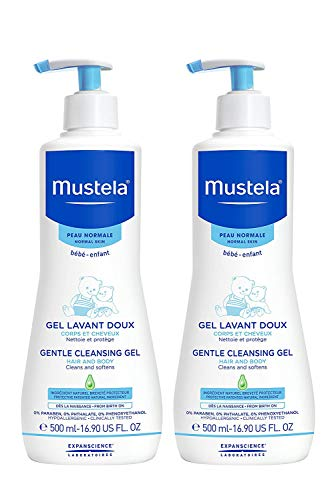 Mustela Baby Gentle Cleansing Gel - Baby Hair & Body Wash - with Natural Avocado fortified with Vitamin B5 - Biodegradable Formula & Tear-Free – 16.90 fl. oz. – 2-Pack