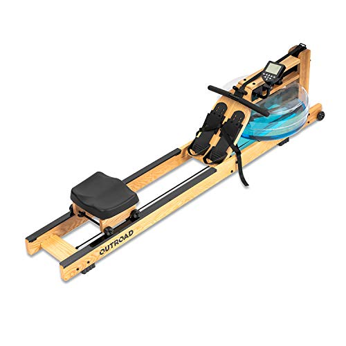 Max4out Water Rowing Machine, Ash Wood Water Rower with LCD Monitor for Home Fitness Workout