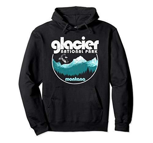 Glacier National Park Montana Retro Style Mountains Pullover Hoodie