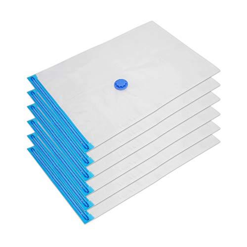Edaygo Vakuumbeutel Kompressionsbeutel Vakuum Aufbewahrungsbeutel für Bettdecken Reise Kleidung, Seit mit 6 Beuteln, 130 x 90 cm, 3 Verschluss-Clips