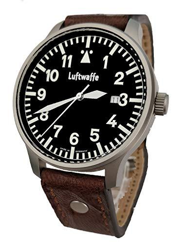 Luftwaffe nachtleuchtende Piloten Armbanduhr Edelstahl 3H84 Fliegeruhr Ziffernblatt schwarz