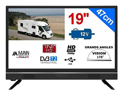 "Television Camping Car Camion 18,5"" 47cm LED HD TNTHD 12V 220V MANN19S"
