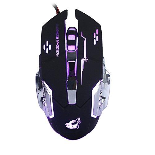 Lanker Gaming Maus Verdrahtete, Optische SpielmäUse Mit 6 Tasten, 4 Hintergrundbeleuchtungen, Ergonomische Griffe und 4 DPI Einstellstufen FüR PC, Laptop und Mac - GM05 Schwarz