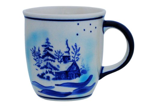 Original Bunzlauer Keramik Kaffee Becher V=0,35 Liter im Dekor DU11 mit Winterlandschaft