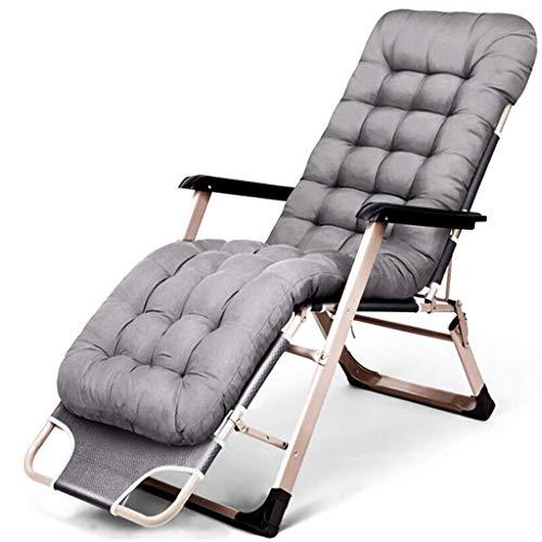 Dek olding Reclining Chair Zonnestoel Zero Gravity Patio Outdoor Texteline Seat, Ideal of indoor en outdoor, camping, strand, tuin, terras, balkon, etc. (Kleur: grijs) zhihao (Color : Gray)