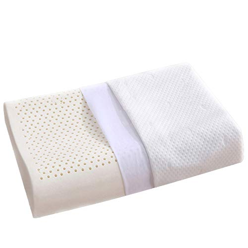 LUOWAN Thailand Made Natural Latex Contour Pillow, Ergonomic Standard Size Low-Loft Cervical Pillow for Neck Pain with Washable Cotton Cover