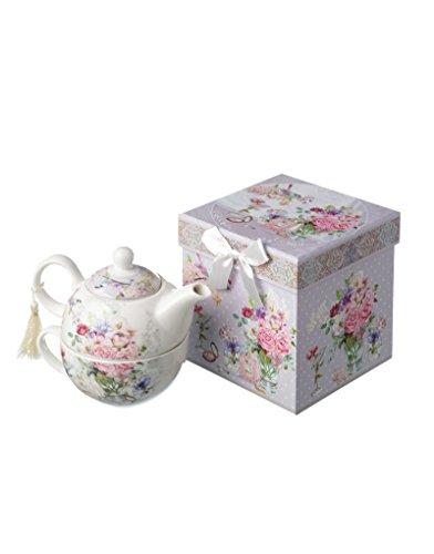 Hogar y Mas Tetera y Taza de Porcelana con Motivo Floral en Caja de Regalo