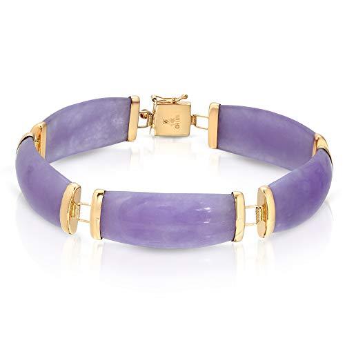 Regalia by Ulti Ramos Genuine Jade in Lavender Color Link Bracelet in 14K Yellow Gold 7'