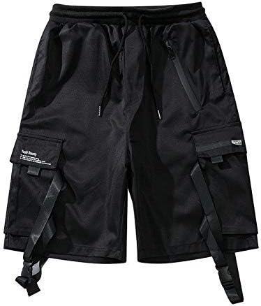 JiuRui Leisure Shorts Summer Cargo Shorts Men Cotton Streetwear Black Casual Men's Shorts Reflective Ribbons Men Short Pants (Color : Black, Size : S)