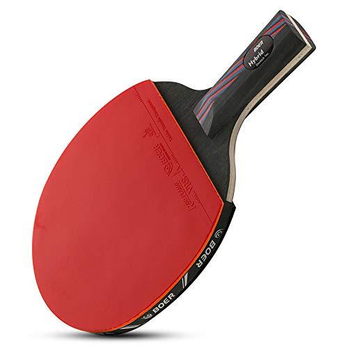 Lixada Raquette de Ping Pong Professionnel 1 PCS Evolution Niveau de Performance Raquette de ping-Pong en Caoutchouc approuvé Pagaie de ping-Pong en Caoutchouc avec Pochette de Rangement pour balles