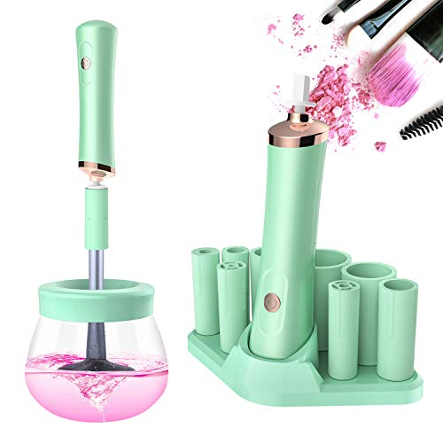Senbowe Upgraded Makeup Brush Cleaner and Dryer Machine, Electric Cosmetic Automatic Brush Spinner with 8 Size Rubber Collars, Wash and Dry in Seconds, Deep Cosmetic Brush Spinner for All Size Brushes