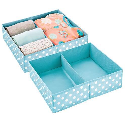 mDesign Juego de 2 Cajas para almacenar Ropa, Cosas de niños, etc. – Organizador de cajones de Tela para Cuartos Infantiles – Cesta organizadora para armarios con 2 Compartimentos – Turquesa y