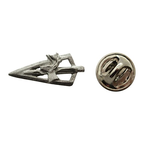 Broadhead and Deer Mini Pin ~ Antiqued Pewter ~ Miniature Lapel Pin ~ Sarah's Treats & Treasures