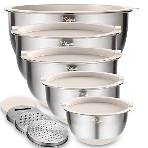 Mixing Bowls Set of 5, Wildone Stainless Steel Nesting Bowls with Khaki Lids, 3 Grater Attachments, Measurement Marks & Non-Slip Bottoms, Size 5, 3, 2, 1.5, 0.63 QT, Great for Mixing & Serving