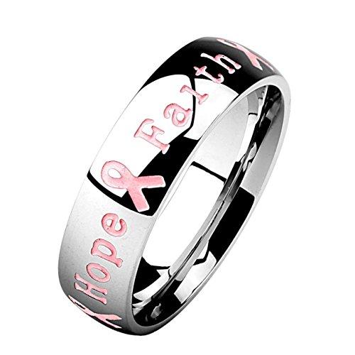 Paula & Fritz® Ring aus Edelstahl Chirurgenstahl 316L silbern 10mm breit Schri.