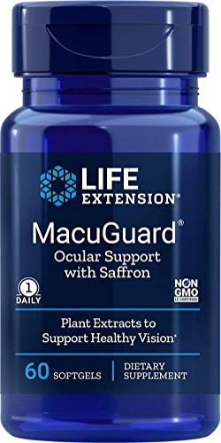 Life Extension MacuGuard Ocular Support with Saffron 60 softgels, Package may vary
