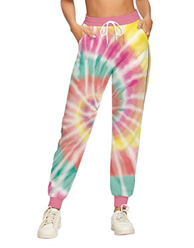 Women's Sweatpants Tie Dye Neon Rainbow Running Jogger Pants Casual Workout Lounge Athletic Sweat Pant Elastic Ankle Comfy Stretch Track Cuffed Striped Side Sportwear Drawstring Trousers with Pockets