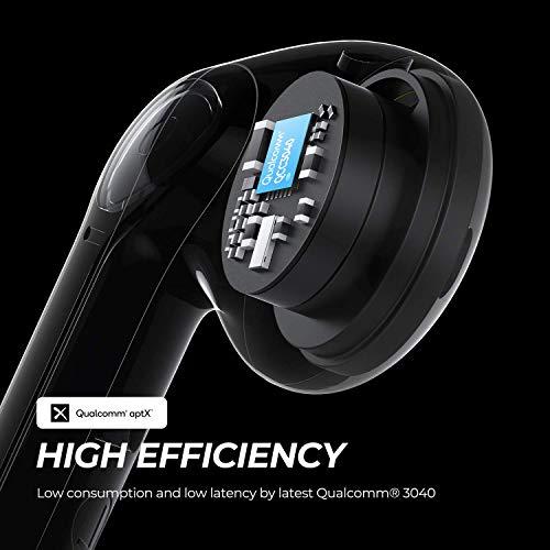 SOUNDPEATS TrueAir2 Auriculares inalámbricos Bluetooth 5.2 Qualcomm3040 aptX TrueWireless Mirroring, 4-Micrófonos Cancelación de Ruido CVC Llamadas claras, diseño Semi-in-Ear, 25 Horas