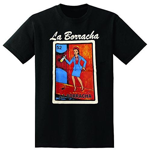 LA Borracha T-Shirt Loteria Funny Drinking Shirt (Medium) Black