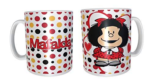 Los Eventos de la Tata. Taza de Desayuno de Mafalda, puntitos rojos