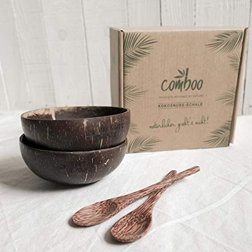 comboo® Coconut Bowl - Original Coconut Bowl - Buddha Bowl - Polished (Set1, 4)