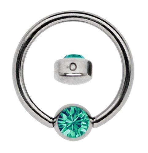 Titan Ring in 1,6 x 12 mm als Lippenbändchen Piercing mit flachem Stein in 4 mm Ø, grün-türkis