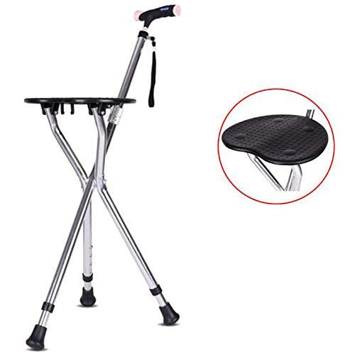 Wandelstok met klapstoel Wandelstok, voor gehandicapten, aluminiumlegering, in hoogte verstelbaar, 82-93 cm, 4 versnellingen, statische belasting 200 kg, statiefpoten,