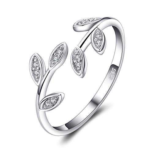 JewelryPalace Olivenblatt Zirkonia Adjustable Geöffneter Ring 925 Sterling Silber
