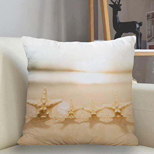 Funda de Almohada Funda de cojín Funda de Almohada de Estrella de mar Funda de Almohada Cuadrada Funda de Almohada con Cremallera Artículos para el hogar Cojines para sofá Cojines para Coche