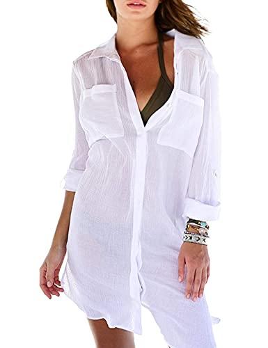 Camisa de playa para mujer, cuello en V, para playa, verano, para bañador, bikini blanco Talla única
