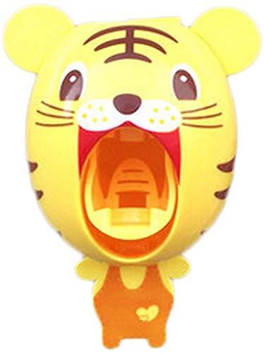 Automatischer Zahnpastaspender, Baby Kinder Hände frei Zahnpastaspender Niedlicher Cartoon Tier Selbstklebende Wandmontage Easy Squeeze Home Decor (Tiger, 1)