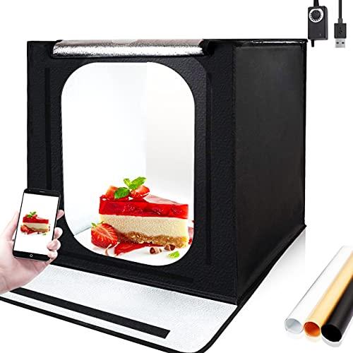 Orthland Fotobox 40x40cm, Lichtzelt Tragbare Fotozelt Faltbare Fotografie Fotostudio mit Zwei 3000k-6500k 56 LED Beleuchtung und 3 Hintergründe (Weiß, Schwarz, Orange)