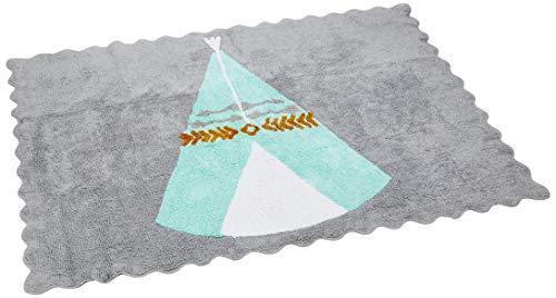 Ideenreich 2400Alfombra 100% algodón lavable, 120x 160cm, color turquesa