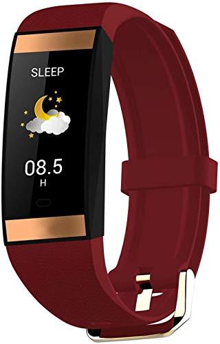Reloj inteligente impermeable de 50 m, pulsera deportiva para pareja con podómetro, información, recordatorio de sueño, pulsera especial femenina compatible con iOS y Android-Maroon