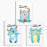 Sunnywall® Juego de 3 pósteres para habitación infantil, tamaño A4, sin marco, decoración para niña y niño, monstruo de las Galletas