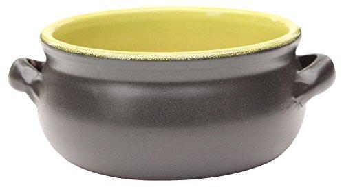Amazing Cookware Terracotta-Piatto Rotondo 15 cm, Colore: Nero/Verde Opaco, Ceramica, 15 x 15 x 7 cm