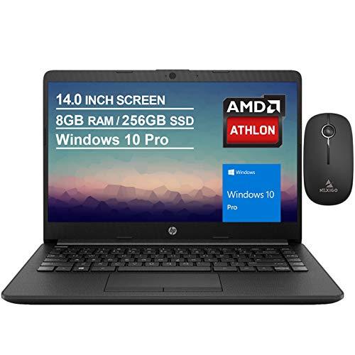 2020 Newest HP 14 Inch Non-Touch Premium Laptop, AMD Athlon Silver 3050U up to 3.2 GHz, 8GB DDR4 RAM, 256GB SSD, WiFi, HDMI, Windows 10 Pro, Jet Black + NexiGo Wireless Mouse Bundle