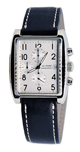 Reloj automático Gabriele D'Annunzio by Giò Colombo de producción limitada, modelo clásico aviator con cronógrafo y correa negra de piel auténtica.