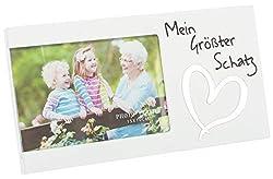 Brandsseller Bilderrahmen Fotorahmen - Mein größter Schatz - mit Spiegelherz 25x13x1,5 cm Matt-Weiß