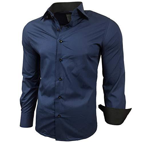 Baxboy Kontrast Herren Slim Fit Hemden Business Freizeit Langarm Hemd RN-44-2, Größe:L, Farbe:Marine
