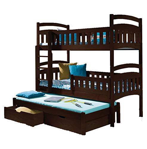 Triple Bunk Bed DOMI 3 Modern Trundle High Sleeper Mattress Drawers Ladder 3 Children Pine Wood