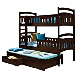 Triple Bunk Bed DOMI 3 Modern Trundle High Sleeper Mattress Drawers Ladder 3 Children Pine Wood