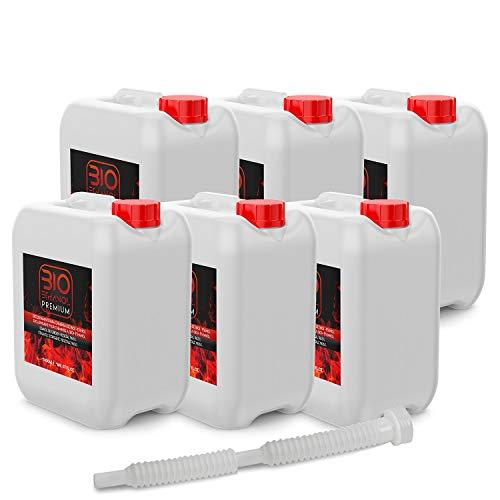 6 x 5 Litros Bioetanol Premium con Embudo para chimeneas