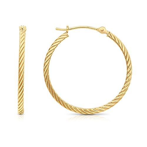 TILO JEWELRY 14k Yellow Gold Twisted Square Tube Hoop Earrings (25mm - 1'') (10k Rope Earrings)