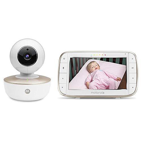 Motorola Baby PNI-MBP855 - Monitor portátil para bebés con video y pantalla a color de 5 pulgadas con Wi-Fi y cámara - Blanco