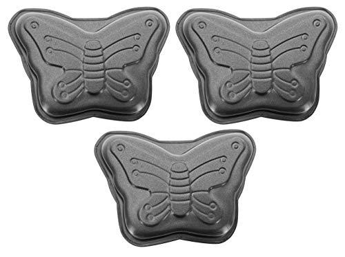 3-teiliges Mini-Backform Set mit Antihaftbeschichtung für Muffins, Brownies, Cupcakes, Kuchen (Schmetterling)