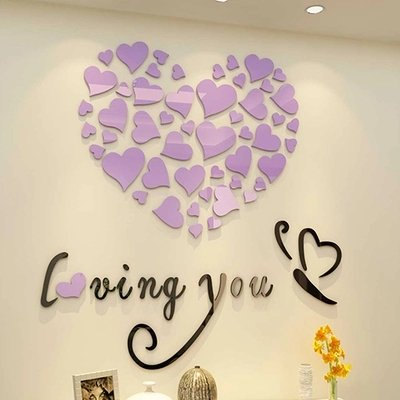 AungAoo The Romantic Bedroom Living Room Door Stickers 3D Acrylic Stereo Background Wall Bedside Wedding Room Decorative Wall Stickers Stickers,Purple Heart Black,In