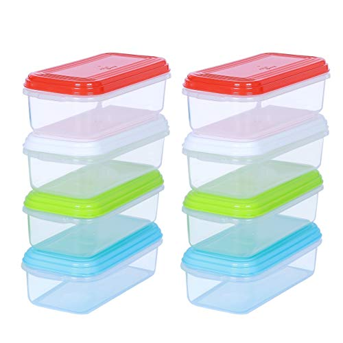 ARSUK Mini Contenitori per alimenti per bambini, Senza BPA contenitori di plastica riutilizzabili con ermetici coperchi impilabili, adatti al microonde freezer lavastoviglie (8 pezzi - 250ml)