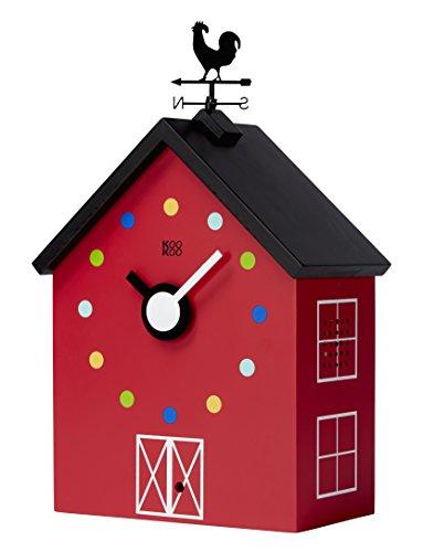 KOOKOO RedBarn (groß), Bauernhaus Uhr mit 12 Tierstimmen, einem Hahn und Einer drehenden Wetterfahne