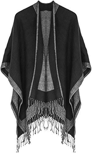 Lachi Damen Poncho Schal Winter Cape Elegant Warm Wolle Schultertuch Mode Schwarz Fransen 130 * 150CM